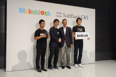 Jasen Wang, the CEO & Founder of Makeblock and Tetsuo Kuramitsu, the CEO of SoftBank C&S