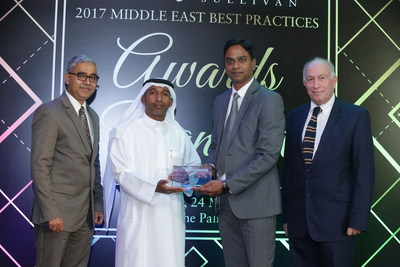 Dr. Raja Gujju, Chief Operating Officer & Dr.Nabil Debouni, Medical Director, Burjeel Hospital receives the 2017 UAE Emerging Medical Tourism Service Provider of the Year - Hospital Category Award from Mr. Jamal Ramadhan Bin Marghoob, Director Marketing & Corporate Communications, from Dubai Airport Freezone in presence of Mr. Sandeep Sinha, Vice President, Transformational Health Practice, Frost & Sullivan