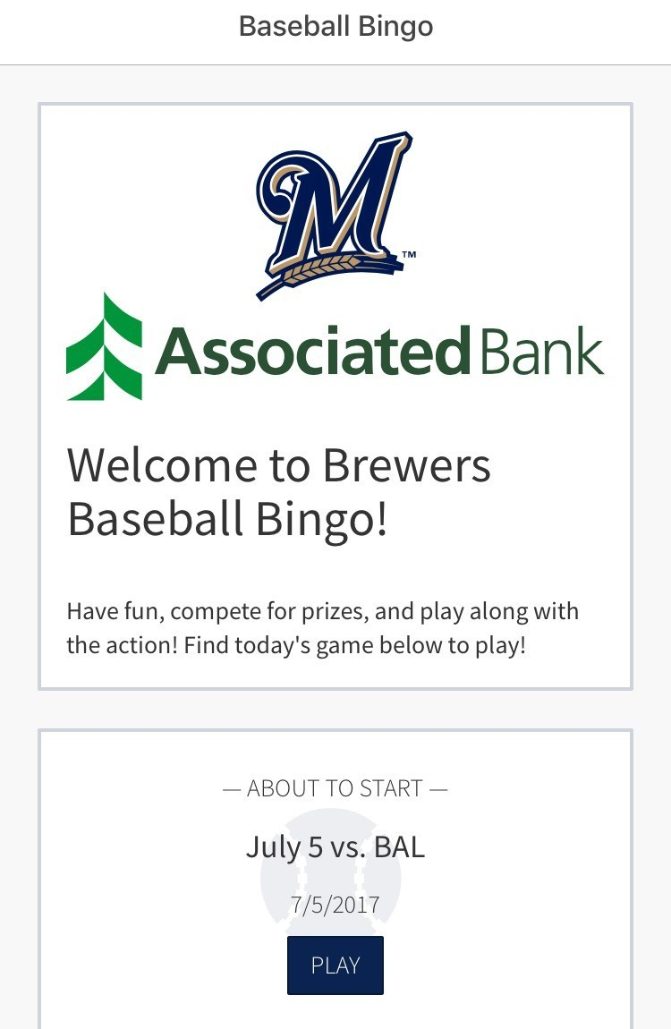 MLB.com Ballpark App - Brewers Baseball Bingo