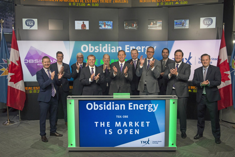 David French, President and Chief Executive Officer, Obsidian Energy Ltd. (OBE), joined Rob Peterman, Vice-President, Global Business Development, TMX Group, to open the market. Obsidian Energy is an intermediate-sized oil and gas producer with a portfolio of assets based in Western Canada. Obsidian Energy Ltd. commenced trading on Toronto Stock Exchange on August 1, 1980. (CNW Group/TMX Group Limited)