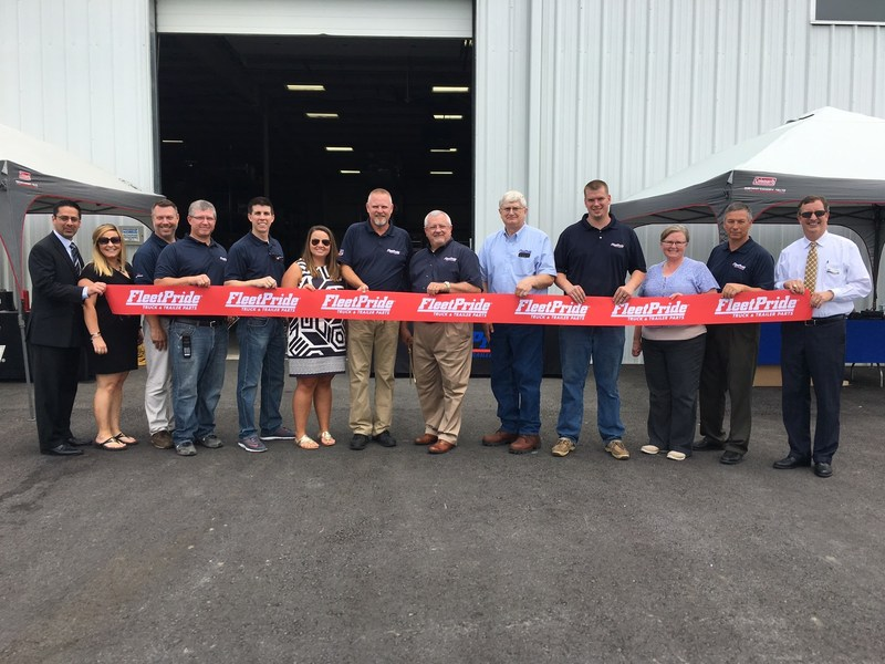 Representatives from FleetPride and the local chamber of commerce officially open FleetPride's newest branch in Mount Crawford, Virginia, on June 22, 2017.