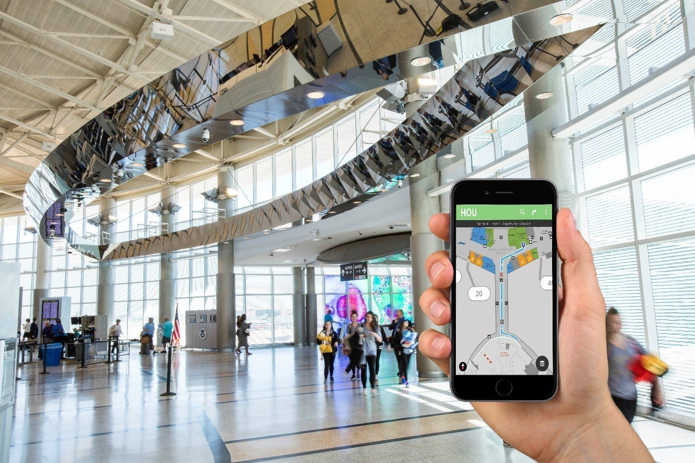 Αποτέλεσμα εικόνας για Houston Airports debuts world's first airport wayfinding technology