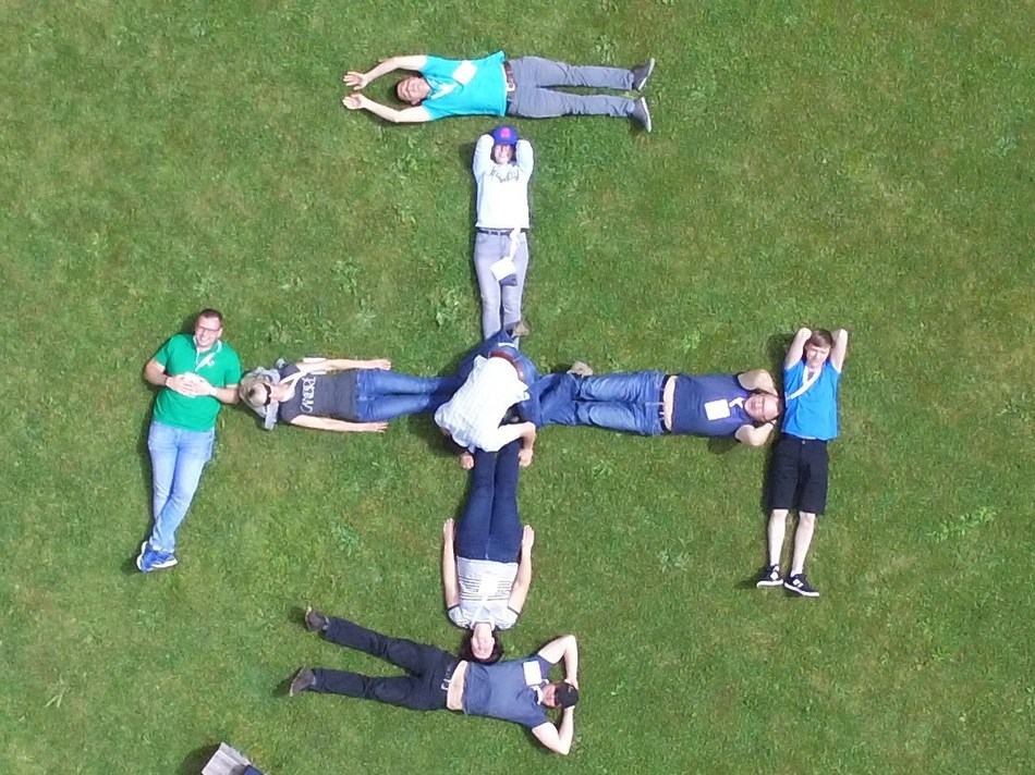 The creative GeoNovus team took this photo via drone. The image has been significantly zoomed as it was taken by a Microdrones mdMapper1000 system that was hundreds of feet in the air. All individuals pictured provided permission prior to the overhead flight.
