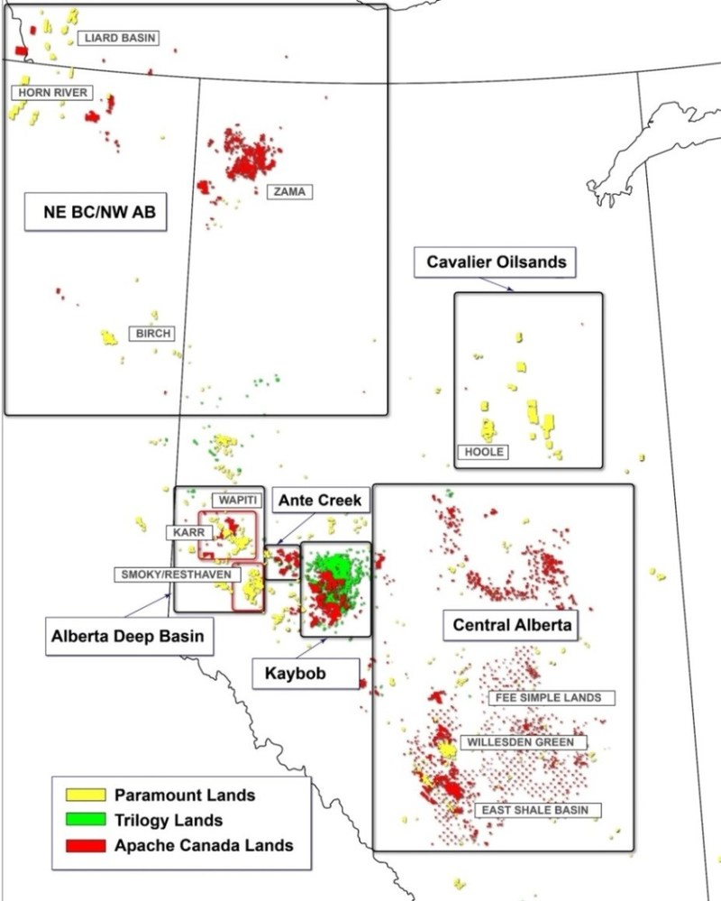 This map outlines the location of Apache Canada's and Trilogy's lands in relation to Paramount's lands. * Note: Apache Canada landholding information provided by Apache Canada. Trilogy landholding information is from Trilogy's public disclosure documents. (CNW Group/Paramount Resources Ltd.)