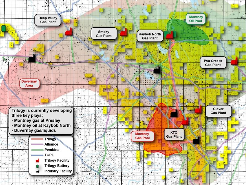 Trilogy's lands are primarily located in the Kaybob area, southeast of Grande Prairie, Alberta. * Note: Trilogy landholding information is from Trilogy's public disclosure documents (CNW Group/Paramount Resources Ltd.)