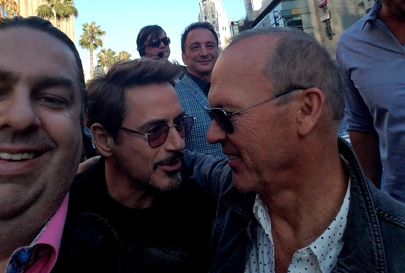 Scorpion (Walter O'Brien) seen here on the red carpet with Ironman Tony Stark (Robert Downey Jr.) and Batman (Michael Keaton).