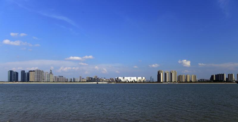 The southern shore of Qian Tang River in Hangzhou, China