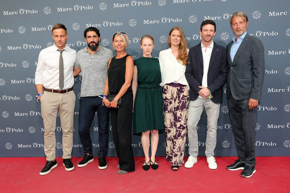 Tom Wlaschiha, Numan Acar, Hanne Jacobsen, Susanne Wuest, Katrin & Oliver Berben and Mads Mikkelsen during the 50th anniversary celebration of Marc O'Polo at its headquarters. (Photo by Gisela Schober/Getty Images for Marc O'Polo) (PRNewsfoto/MARC O'POLO)