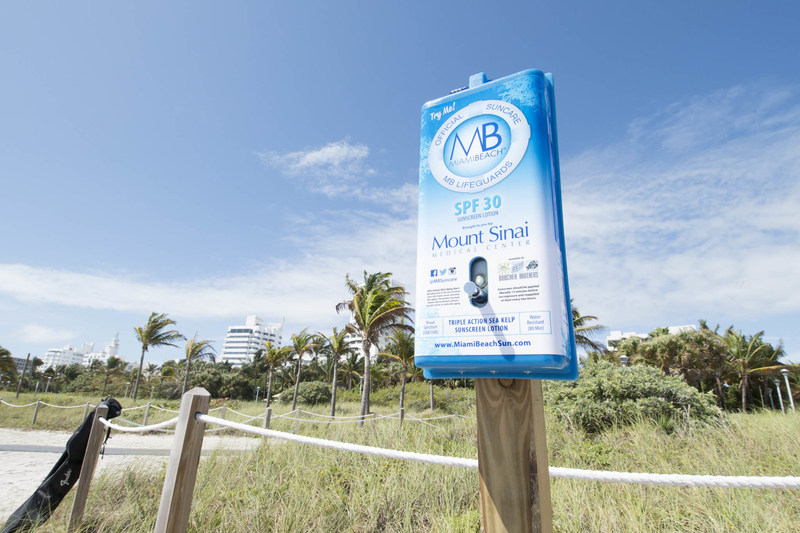 Miami Beach offers free SPF to visitors and locals through the MB Suncare Dispenser program.  This nationwide initiative which launched in Miami Beach will now be available in additional cities including Hempstead and Long Beach, NY.