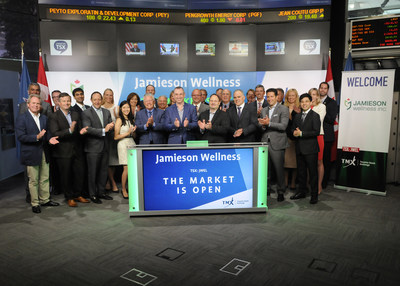 Mark Hornick, President and Chief Executive Officer, Jamieson Wellness Inc. (JWEL), joined Ungad Chadda, President, Capital Formation, Equity Capital Markets, TMX Group, to open the market. Established in 1922, Jamieson Vitamins is a consumer health brand that manufactures and markets sports nutrition products and specialty supplements under its Progressive, Precision and Iron Vegan brands. The company also markets products by Lorna Vanderhaeghe Health Solutions (LVHS), a women's natural health focused brand in Canada. Jamieson Wellness Inc. commenced trading on Toronto Stock Exchange on July 7, 2017. (CNW Group/TMX Group Limited)