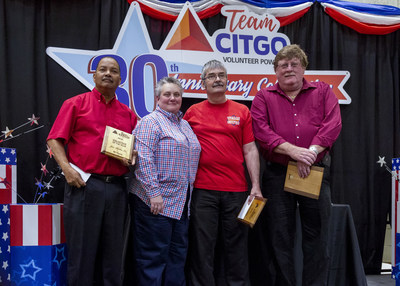 TeamCITGO Employee Volunteers of the year: Joe Bilbo Sr., David Sears and Charles Jernigan, and TeamCITGO President and Bob Carroll Legacy Award Recipient Tammy Spell (second from right).