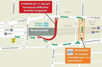 Recouvrement de l'autoroute 720 (Ville-Marie) à Montréal - Fermeture définitive de la bretelle menant de l'autoroute 720 en direction est vers la rue Sanguinet (Groupe CNW/Ministère des Transports, de la Mobilité durable et de l'Électrification des transports)