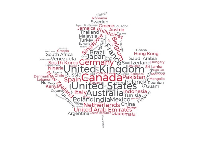 According to Cision's latest share of voice study, 110 countries across Europe, Asia, Australia, and Africa have joined the Canada 150 conversation online. (CNW Group/Cision Canada)