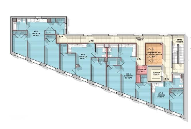 Floor plan of apartment complex at 915 Dawson St.