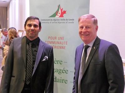 Dr Mehdi Khider, président de l'Association de la communauté des Algériens unifiés du Canada, et le maire de Laval, M. Marc Demers. (Groupe CNW/Cabinet du maire et du comité exécutif de la Ville de Laval)