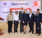 From left to right: Mr. Kamlesh Vyas and Mr. Alok Gupta - VP, Reliance Jio, Mr. Chad Hensler, Trade Commissioner, Canadian Consulate, Mrs. Irena Ostap, VP Pack-Smart Inc, Mr. Derek Dlugosh-Ostap, CEO Pack-Smart Inc. and Mr. Shripad Kurlekar - DGM of Inteli Pack Innovations (PRNewsfoto/Inteli-Pack Innovations Pvt. Ltd)
