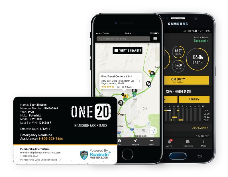 ONE20 Roadside Membership Card, along with app screens for the ONE20 F-ELD and My ONE20 Apps