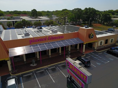Planet Fitness' St. Petersburg club solar panel installation became the first 24/7 Planet Fitness to be a net-zero energy building.