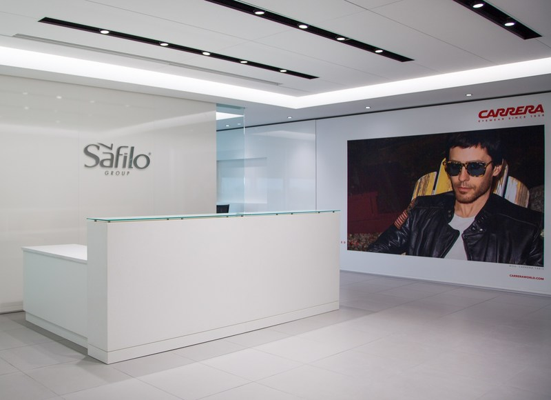 Reception area of new Secaucus headquarters of Safilo North America