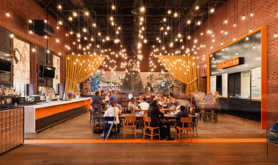 Umami Burger at Hudson Hotel continues the brand legacy of carefully crafted interior and exterior design.