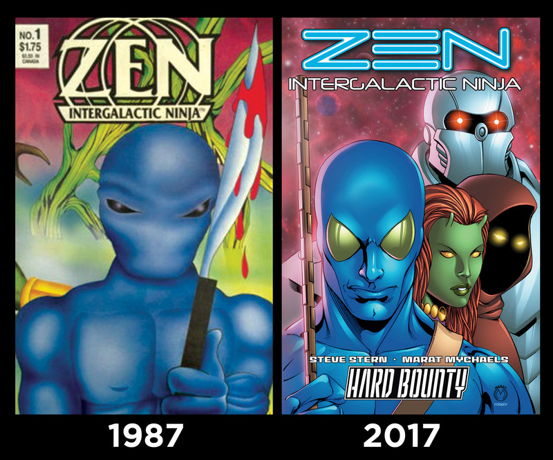 Alien comic-book superhero Zen Intergalactic Ninja began his 30-year comics career with only a set of small, dark eyes.  Then he grew a new face—as can be seen on the cover of the 'Hard Bounty' trade paperback from 1First Comics. He also traded in his bloody spear for a high-tech photon-stick.