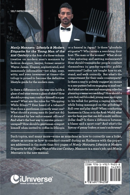 Back cover of Wayne James' Manly Manners: Lifestyle & Modern Etiquette for the Young Man of the 21st Century