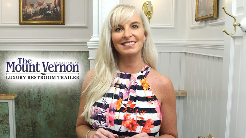 Kimberly Howard inside 'The Mount Vernon' Luxury Restroom Trailer by CALLAHEAD