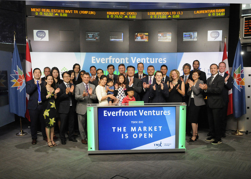 Andrew Ryu, Chairman & Chief Executive Officer, Everfront Ventures Corp. (EVC), joined Eric Loree, Team Manager, Listed Issuer Services, TSX Venture Exchange to open the market. Everfront Ventures Corp. is the holding company of Datametrex Limited, a Toronto-based which company which develops, assembles, markets and distributes devices for the cloud-based collection and analysis of raw customer data from point-of-sale machines at the retail merchant level. Everfront Ventures Corp. commenced trading on TSX Venture Exchange on June 12, 2017. (CNW Group/TMX Group Limited)