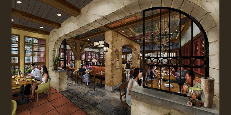 Design rendering showing the interior of Terralina Crafted Italian, a new Italian restaurant concept slated to open at Disney Springs in Fall 2017. James Beard Award-winning Chef Tony Mantuano is leading the development of the menu for the new restaurant, which will feature a selection of artisanal, hand-tossed pizzas and fresh vegetable dishes.