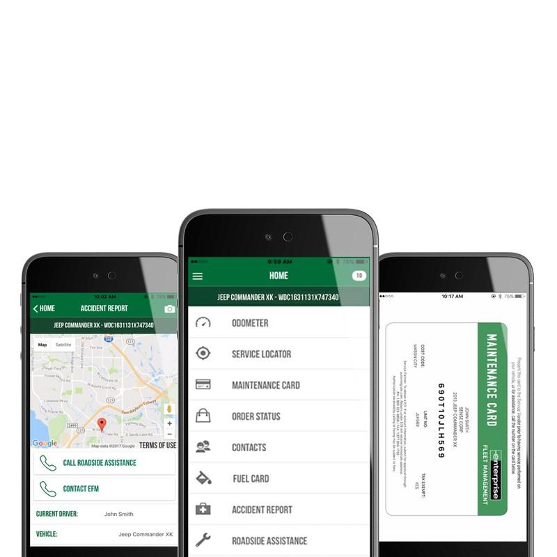 The new Enterprise Fleet Management mobile app. (PRNewsfoto/Enterprise Fleet Management)