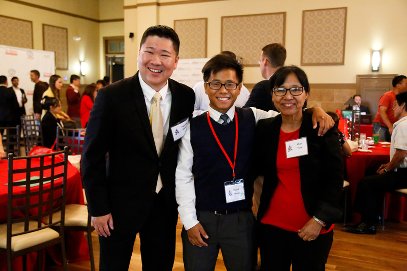 Scholarship recipient David Thang (center) plans to attend the University of Texas at Arlington to pursue his dream of becoming a doctor.