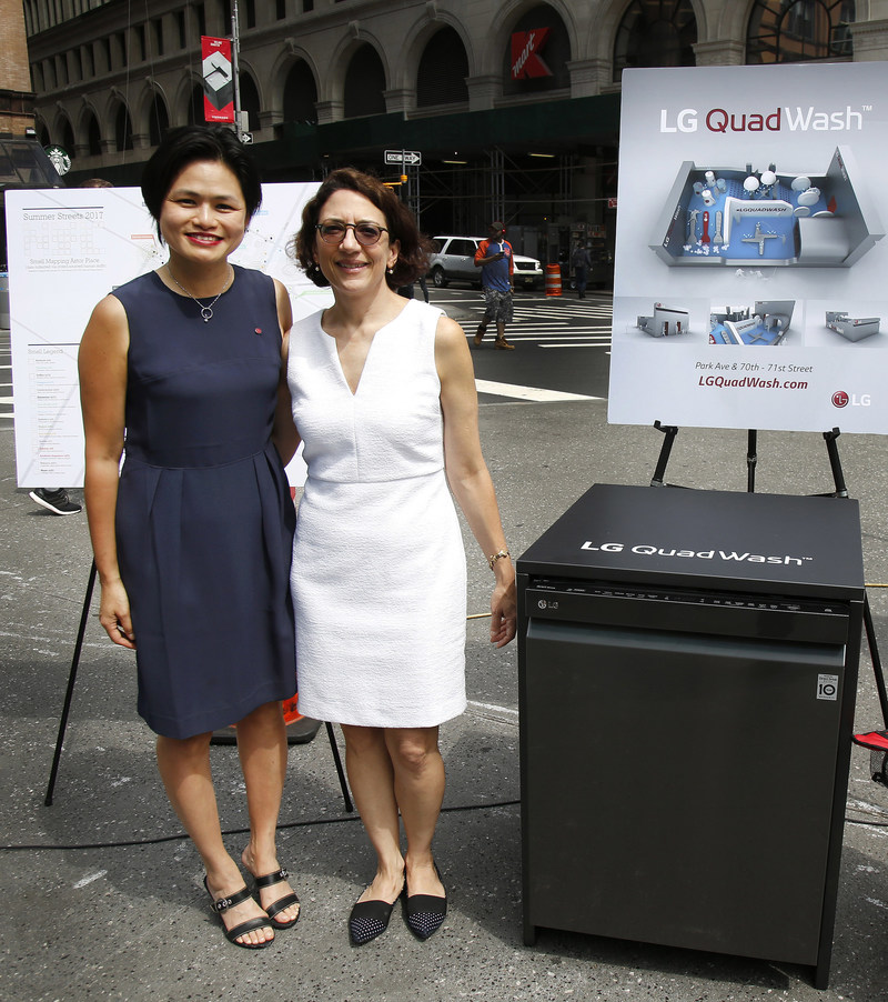 New York City Department of Transportation Commissioner, Polly Trottenberg, and head of home appliance brand marketing at LG Electronics U.S.A., Peggy Ang, discuss LG's upcoming Summer Streets 2017 QuadWash Water Park activation, which was unveiled at the Summer Streets press conference on July 11, 2017.