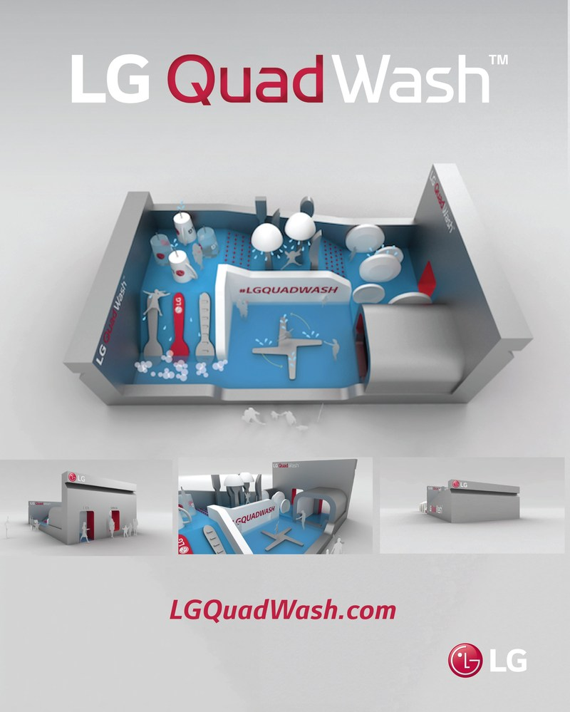 """Announced today with the New York City Department of Transportation, the massive """"LG QuadWash Water Park"""" will top-out at 6,750 square feet (two and a half times bigger than a tennis court) and will soak festivalgoers from every angle, mimicking the new LG QuadWash dishwashers' advanced four spray arm technology."""