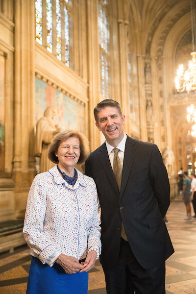 Baroness Emma Nicholson of Winterbourne welcomes UVU President Matthew S. Holland to Parliament Monday July 10, 2017. (David Fisher for UVU Marketing)