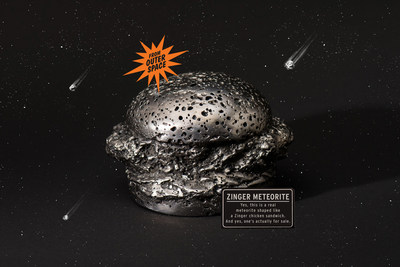 Yes, this is a real meteorite shaped like a Zinger chicken sandwich. And yes, one's actually for sale.