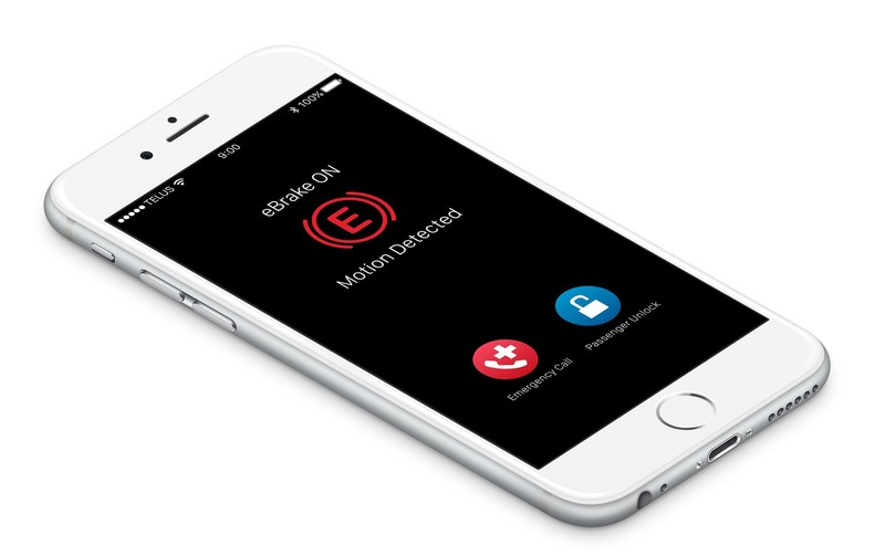 eBrake to stop distracted driving. eBrake locks drivers from their device when motion is detected - but grants passengers unrestricted use. (CNW Group/eBrake Technologies Inc.)