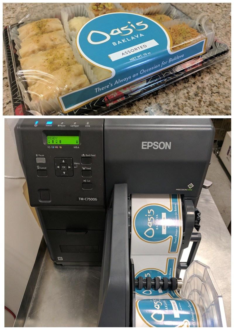 Boutique restaurant Dishdash's baklava labels printed on Epson ColorWorks C7500GE on-demand inkjet label printer