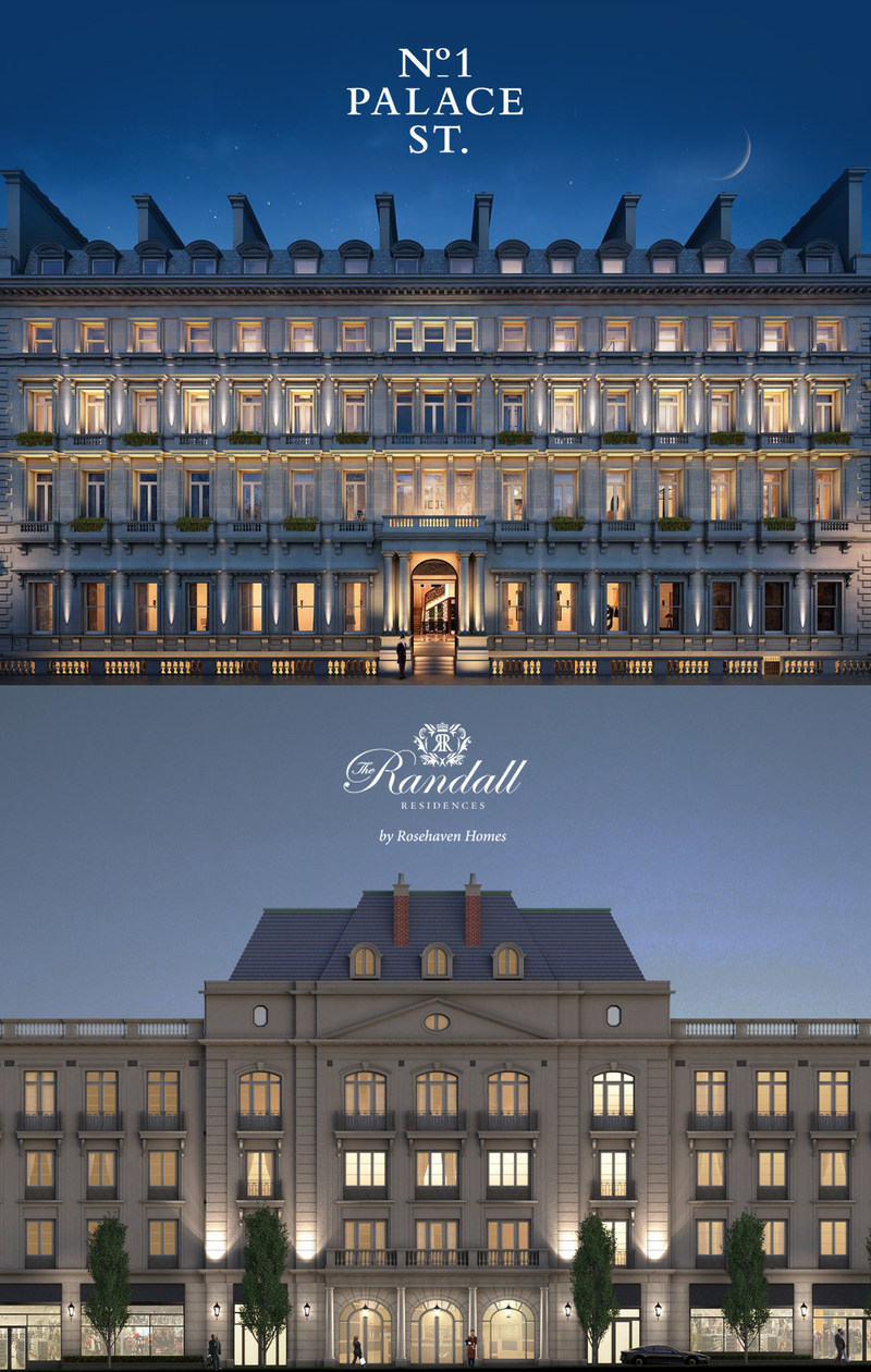Similarities in Beaux Arts architecture between The Randall Residences in Oakville, ON (bottom) and The Palace Hotel next to Buckingham Palace in London, England (top). (CNW Group/The Randall Residences by Rosehaven Homes)