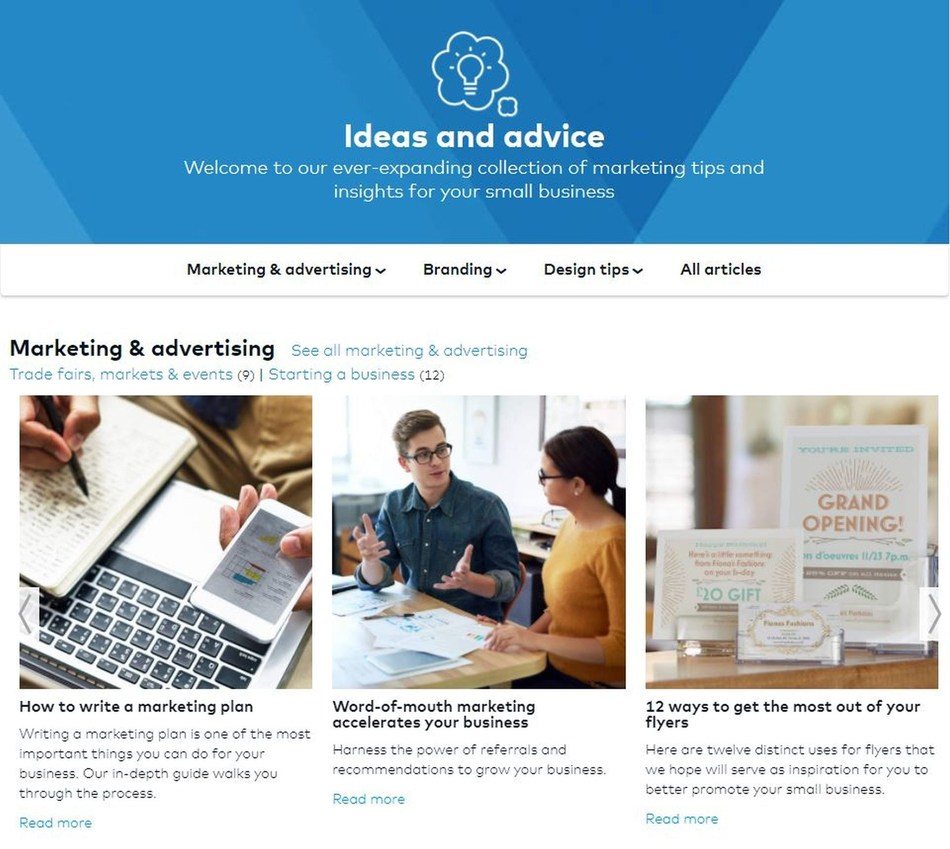 Ideas and Advice Hub (PRNewsfoto/Vistaprint)
