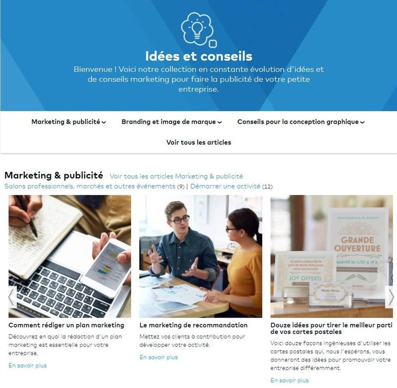 La plateforme Idees et Conseils (PRNewsfoto/Vistaprint)