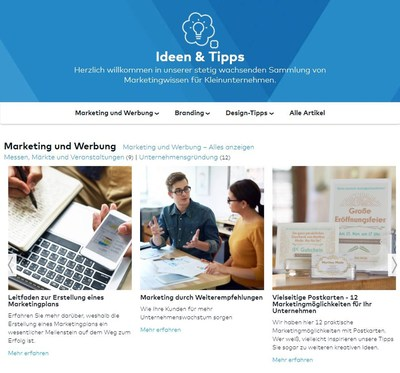 Ideen & Tipps Seite (PRNewsfoto/Vistaprint)