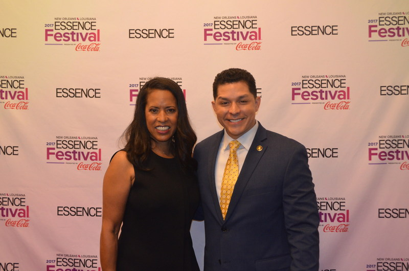 Minority Business Development Agency Acting National Director Chris Garcia poses with President of Essence Communications, Inc. Michelle Ebanks, during the 2017 Essence Festival in New Orleans. This year MBDA partnered with Essence to launch the first-ever Essence Path to Power Entrepreneurship and Business Conference, in conjunction with the annual Essence Festival in New Orleans. (Photo by MBDA)