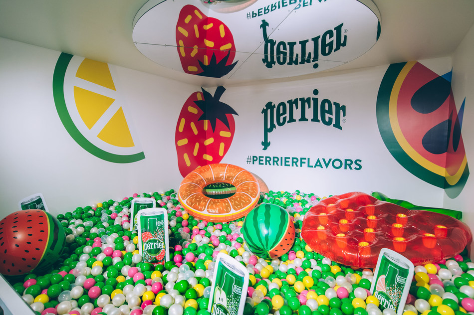 Guests at The Perrier Flavor® Studio are invited to find their flavor inspiration through interactive elements like the Perrier Bubble Ball Pit with original artwork by AKACORLEONE (Pedro Campiche.) From Wednesday, July 12 to Sunday, July 16, the event will be open to the public at 63 Greene Street in SoHo, New York City, celebrating the vibrant range of Perrier flavors, including the new Perrier Strawberry and Perrier Watermelon. (Credit: Perrier Sparkling Natural Mineral Water/Jane Kratochvil)