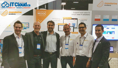 From left to right : Mike Bérubé, VP IT (IT Cloud Solutions) – David Latulippe, VP Sales & Business Development (IT Cloud Solutions) – Frédéric Senez, Director Eastern Canada (Microsoft Canada) – Florent Petit, Director Pre-Sales (Mandarine Academy) - Rija Raharinosy, VP Sales (Mandarine Academy) – Neil Thompson, National Partner Sales Manager (Microsoft Canada) (CNW Group/IT Cloud Solutions - Backup \ Synchronisation)