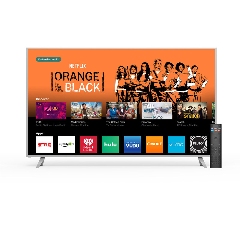 VIZIO's SmartCast TV brings apps to the big screen for quick access to TV shows, movies and music. VIZIO's enhanced Smart TV user experience provides two ways to control content and is rolling out now to all 2017 VIZIO SmartCast P-Series and M-Series Ultra HD displays. (PRNewsfoto/VIZIO, Inc.)