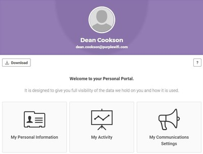 Purple GDPR Compliance Welcome screen (PRNewsfoto/Purple)