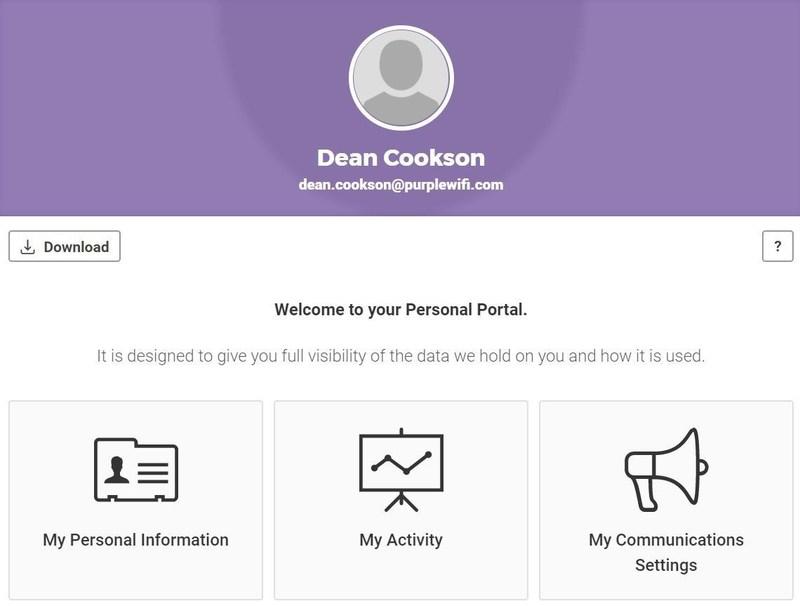 Purple GDPR Compliance Welcome screen (PRNewsfoto/Purple)