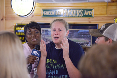 Stacy Bolder, right, of Tomahawk, Wisconsin, was surprised by HGTVs Tiffany Brooks with the news that she is the winner of the HGTV Smart Home Giveaway 2017, located in Scottsdale, Arizona.