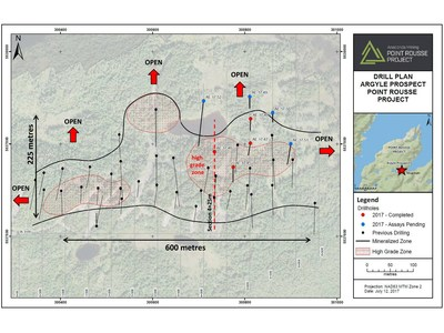Exhibit A.  A map showing the location of drill holes reported in this press release (red), drill holes with assays pending (blue) and previous drilling (black).  The high-grade areas are outlined in red with all mineralization outlined in black. (CNW Group/Anaconda Mining Inc.)
