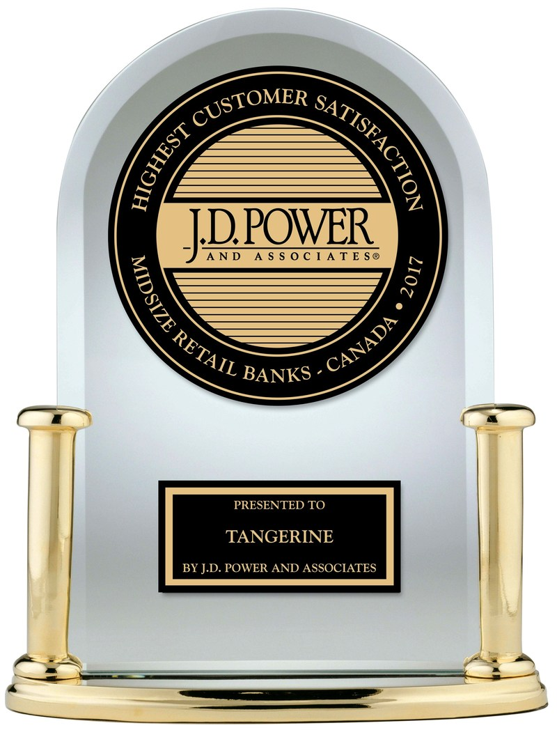 Tangerine Ranks Highest in Customer Satisfaction by J.D. Power for Six Years in a Row (CNW Group/Tangerine)